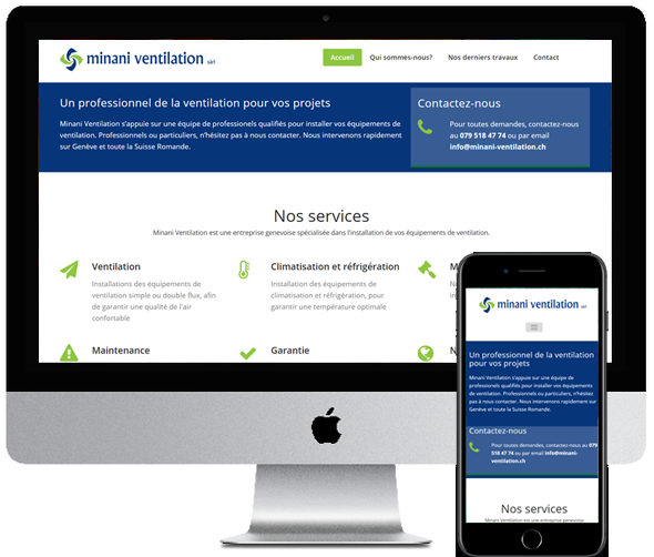 Minani Ventilation, site desktop et mobile par Digifirst